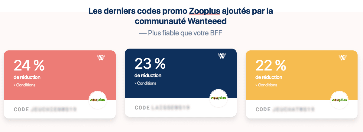 exemple de promo zooplus sur wanteed